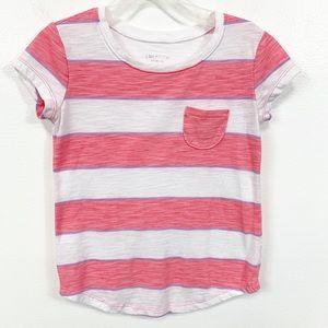 Girls Arizona Pink Striped Pocket Tee Shirt 6